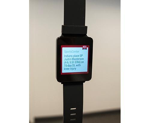 Smartwatch showing ESPN notification