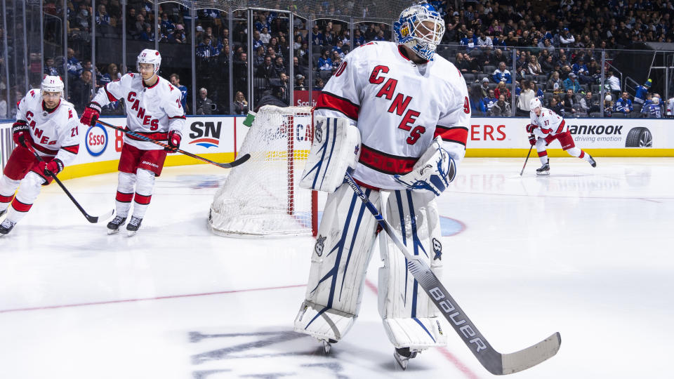 TORONTO, ON - FEBRUARY 22: Emergency backup goaltender Dave Ayres #90 of the Carolina Hurricanes takes the ice against the Toronto Maple Leafs during the third period at the Scotiabank Arena on February 22, 2020 in Toronto, Ontario, Canada. (Photo by Mark Blinch/NHLI via Getty Images)