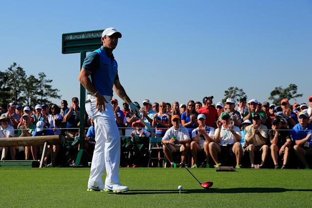 AUGUSTA, GA - APRIL 12: Rory McIlroy of Northern Ireland waits to play his tee shot on the first hole during the third round of the 2014 Masters Tournament at Augusta National Golf Club on April 12, 2014 in Augusta, Georgia. (Photo by Rob Carr/Getty Images)