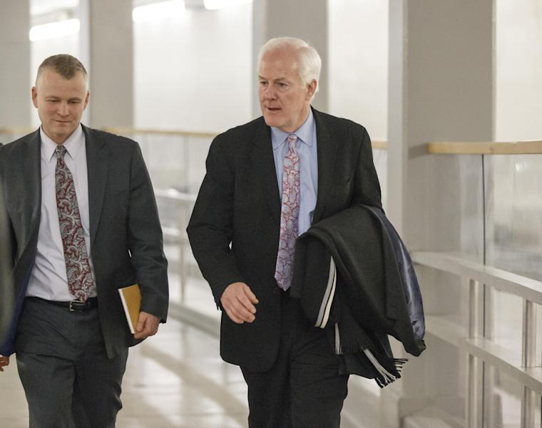 Senate Minority Whip John Cornyn, R-Texas, walks to the Senate through an underground tunnel on the way to a scheduled procedural vote in the Senate on a bill that would extend unemployment benefits, at the Capitol in Washington, Monday, Jan. 6, 2014. (AP Photo/J. Scott Applewhite)