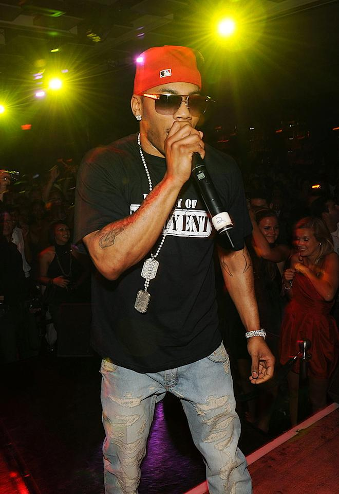 "Nelly performs at the Jet nightclub in the Mirage Hotel and Casino in Las Vegas. Denise Truscello/<a href=""http://www.wireimage.com"" target=""new"">WireImage.com</a> - July 6, 2009"