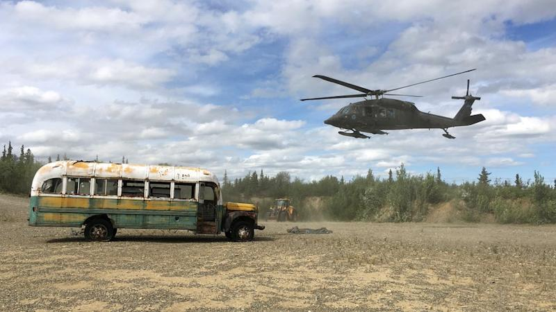 bus having been lifted to the east side of the teklanika river