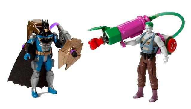 <p>Batman may not be a fan of firearms, but he's not adverse to arming himself with projectile weapons. These 6-inch deluxe versions of the Caped Crusader and the Clown Prince of Crime come equipped with air-pump activated armaments that can be swapped between them. (Photo: Mattel/Warner Bros.) </p>