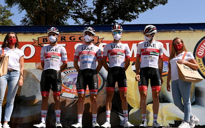 VILLADIEGO, SPAIN - JULY 29: Start / Fernando Gaviria Rendon of Colombia, Maximiliano Ariel Richeze of Argentina, David De la Cruz Melgarejo of Spain, Fabio Aru of Italy and UAE Team Emirates / Covid Safe measures / Andres Camilo Ardila Ordoñez of Colombia, Juan Sebastian Molano Benavides of Colombia and Cristian Camilo Muñoz Lancheros of Colombia are COVID-19 positive / Team Presentation / during the 42nd Vuelta a Burgos 2020, Stage 2 a 168km stage from Castrojeriz to Villadiego / #VueltaBurgos / on July 29, 2020 in Villadiego, Spain. (Photo by David Ramos/.) - Velo