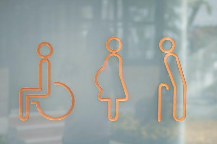Toilet signs for disabled, pregnant and elderly people