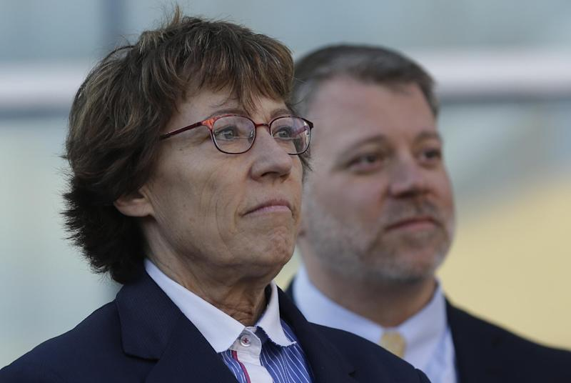 """Attorneys Peggy Tomsic, left, and James E. Magleby look on during the Utah Unites for Marriage """"send-off"""" event Monday, April 7, 2014, in Salt Lake City. On Wednesday, April 9, 2014, a three-judge panel in Denver will become the first federal appeals court to hear arguments regarding state same-sex marriage bans since the Supreme Court ruling in June that overturned part of a federal ban on gay marriage. A series of pro-gay marriage rulings in the previous nine months by federal judges has emboldened backers of gay marriage and spurred predictions that it's only a matter of time before gay and lesbian couples will be able to legally marry across the United States. (AP Photo/Rick Bowmer)"""