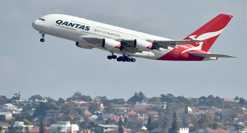 A Qantas plane seen as travel bubble discussions ramp up.