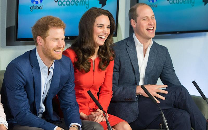 The Duke and Duchess of Cambridge and Prince Harry tour a TV studio during a visit to open the Global Academy - Credit: Dominic Lipinski