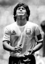 FILE PHOTO: Diego Maradona Reacts To Yellow Card During World Cup Final In Mexico