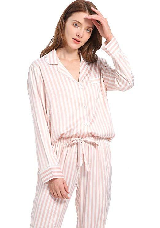 "<p>We'll be wearing this <a href=""https://www.popsugar.com/buy/Serenedelicacy-Silky-Satin-Pajama-Set-545948?p_name=Serenedelicacy%20Silky%20Satin%20Pajama%20Set&retailer=amazon.com&pid=545948&price=28&evar1=fab%3Aus&evar9=47184858&evar98=https%3A%2F%2Fwww.popsugar.com%2Ffashion%2Fphoto-gallery%2F47184858%2Fimage%2F47184894%2FSerenedelicacy-Silky-Satin-Pajama-Set&list1=shopping%2Camazon%2Cpajamas&prop13=mobile&pdata=1"" rel=""nofollow"" data-shoppable-link=""1"" target=""_blank"" class=""ga-track"" data-ga-category=""Related"" data-ga-label=""https://www.amazon.com/Serenedelicacy-Womens-Pajamas-Sleeve-Medium/dp/B07KDQBDBD/ref=sr_1_1?dchild=1&amp;keywords=pink%2Bstriped%2Bpajamas%2Bwomen%2Bsatin&amp;qid=1580757315&amp;s=apparel&amp;sr=1-1&amp;th=1&amp;psc=1"" data-ga-action=""In-Line Links"">Serenedelicacy Silky Satin Pajama Set</a> ($28) to bed all month long.</p>"