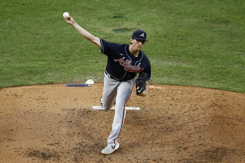 Atlanta Braves' Kyle Wright pitches during the fourth inning of a baseball game against the Philadelphia Phillies, Saturday, Aug. 8, 2020, in Philadelphia. (AP Photo/Matt Slocum)