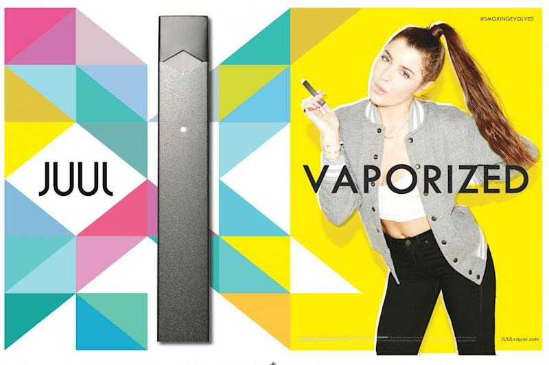 "Ads like this one featuring young models in Juul's ""Get Vaporized"" campaign ran for a period of five months in 2015. (Juul Labs)"