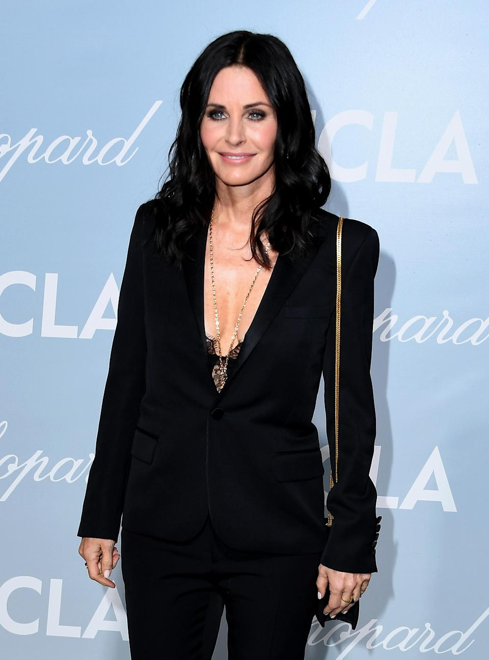 """<p>The former 'Friends' actress got candid about her plastic surgery regrets during an interview with <a rel=""""nofollow noopener"""" href=""""https://www.newbeauty.com/blog/dailybeauty/11013-courteney-cox-beauty/"""" target=""""_blank"""" data-ylk=""""slk:New Beauty"""" class=""""link rapid-noclick-resp""""><em>New Beauty</em></a> magazine, admitting: """"You have no idea because it's gradual, until you go, 'Oh, sh*t. This doesn't look right.' And it's worse in pictures than in real life."""" The 54-year-old added, """"I've had all my fillers dissolved. I'm as natural as I can be. I feel better because I look like myself. I think that I now look more like the person that I was. I hope I do."""" <em>[Photo: Getty]</em> </p>"""