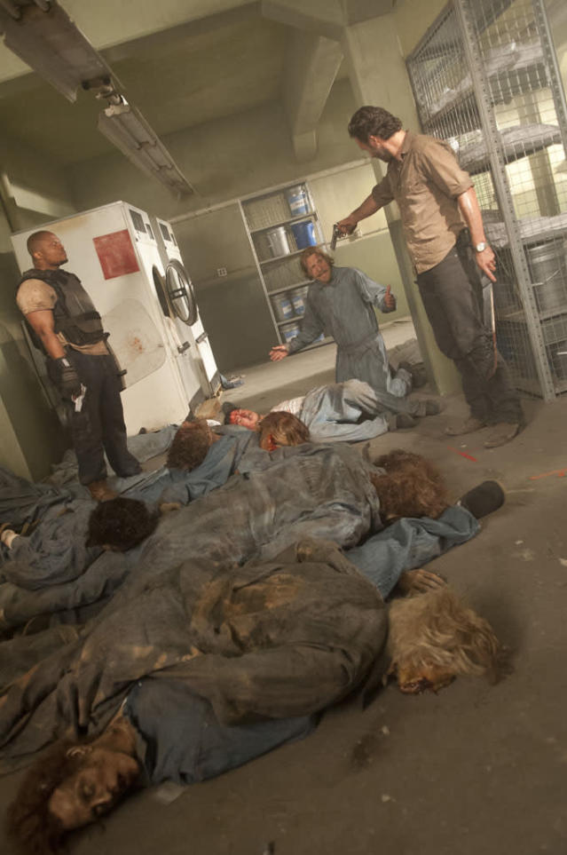 "T-Dog (Robert 'IronE' Singleton), Axel (Lew Temple) and Rick Grimes (Andrew Lincoln) in ""The Walking Dead"" episode, ""Sick."""