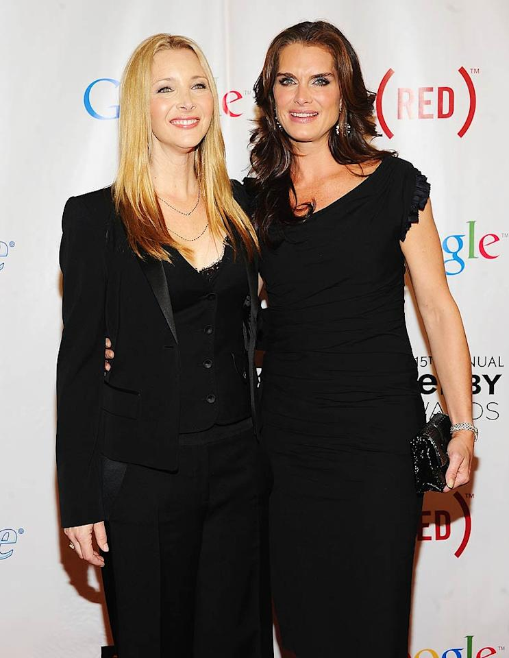 """The show's host, Lisa Kudrow, mingled with Brooke Shields on the red carpet. Let's hope Lisa did a better job in front of the crowd than Brooke did at the Tony Awards on Sunday night when she had multiple flubs! Jamie McCarthy/<a href=""""http://www.gettyimages.com/"""" target=""""new"""">GettyImages.com</a> - June 13, 2011"""