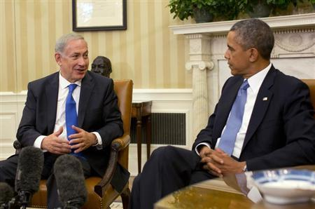 U.S. President Barack Obama meets with Israeli Prime Minister Benjamin Netanyahu in the Oval Office of the White House in Washington