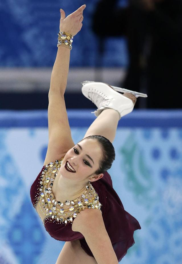Kaetlyn Osmond of Canada competes in the women's team free skate figure skating competition at the Iceberg Skating Palace during the 2014 Winter Olympics, Sunday, Feb. 9, 2014, in Sochi, Russia. (AP Photo/Bernat Armangue)