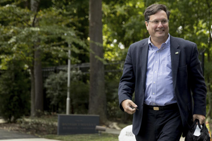 FILE - In this Oct. 5, 2016, file photo American political operative Ron Klain arrives at Democratic presidential candidate Hillary Clinton's home in Washington. Klain is preparing to serve as President-elect Joe Biden's chief of staff, a job often referred to as the nation's chief operating officer. (AP Photo/Andrew Harnik, File)