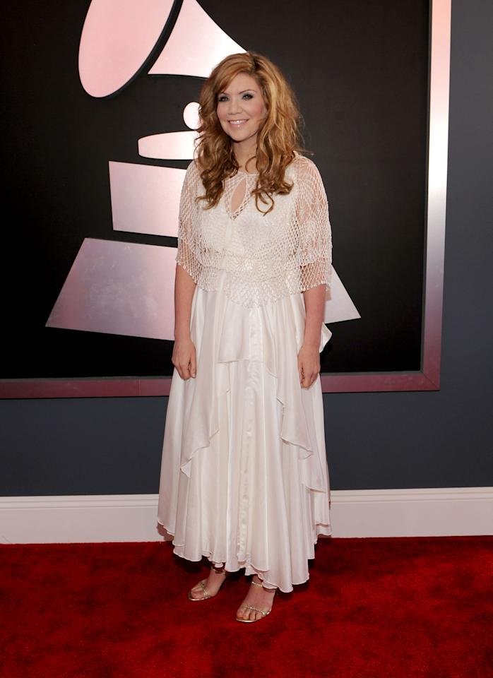 LOS ANGELES, CA - FEBRUARY 12:  Singer Alison Krauss arrives at the 54th Annual GRAMMY Awards held at Staples Center on February 12, 2012 in Los Angeles, California.  (Photo by Larry Busacca/Getty Images For The Recording Academy)