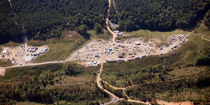 A 2016 file photo shows an overhead view of Colonial Pipeline in Helena, Alaska.