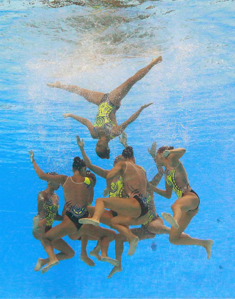 Synchro - 17th FINA World Championships - Women Team Free Preliminary - Budapest, Hungary - July 19, 2017 - Team Italy competes.  REUTERS/Michael Dalder