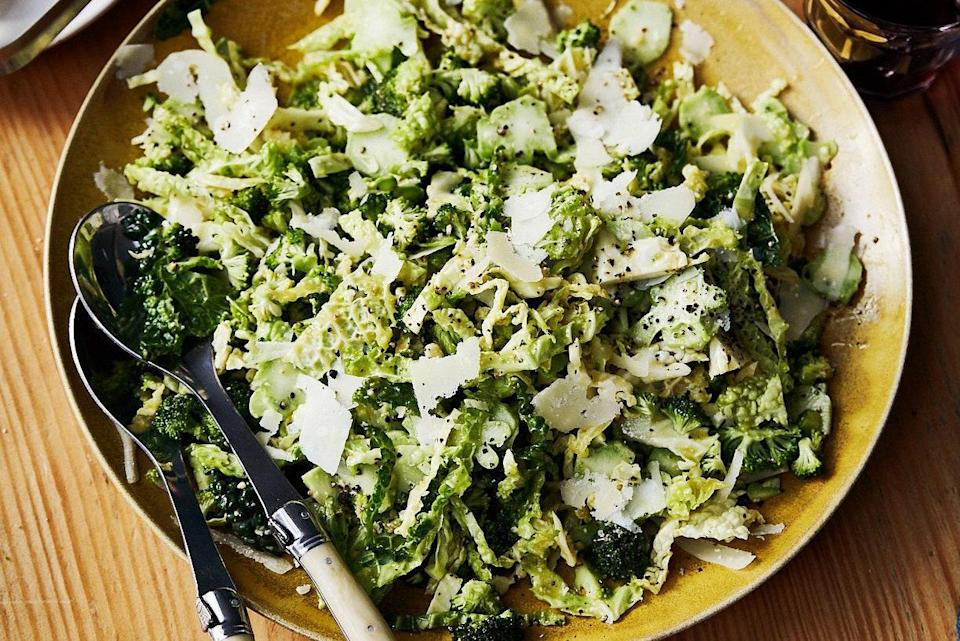 """An extra-crunchy, extra savory, extra-hearty salad. <a href=""""https://www.epicurious.com/recipes/food/views/broccoli-caesar-salad?mbid=synd_yahoo_rss"""" rel=""""nofollow noopener"""" target=""""_blank"""" data-ylk=""""slk:See recipe."""" class=""""link rapid-noclick-resp"""">See recipe.</a>"""