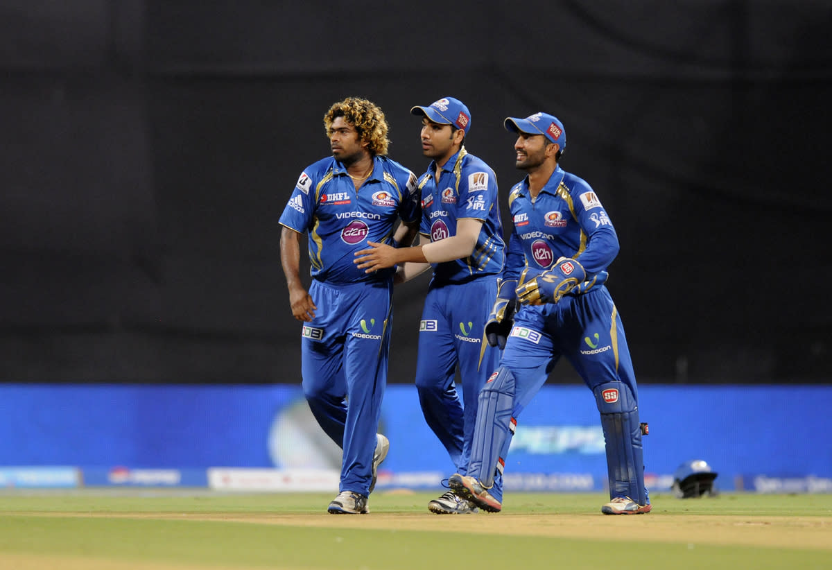Lasith Malinga of Mumbai Indians celebrates the wicket of Parthiv Patel of Sunrisers Hyderabad during match 62 of the Pepsi Indian Premier League ( IPL) 2013  between The Mumbai Indians and the Sunrisers Hyderabad held at the Wankhede Stadium in Mumbai on the 13th May 2013 ..Photo by Pal Pillai-IPL-SPORTZPICS ..Use of this image is subject to the terms and conditions as outlined by the BCCI. These terms can be found by following this link:..https://ec.yimg.com/ec?url=http%3a%2f%2fwww.sportzpics.co.za%2fimage%2fI0000SoRagM2cIEc&t=1493403593&sig=xRZadg90tgMwwLSqx3lfsg--~C