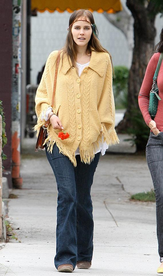 """Hippie chic hasn't been in style in years, but that didn't stop Aussie actress Isabel Lucas (""""The Pacific"""") from hitting the streets of Hollywood in this outdated poncho and horrific headband. APG/<a href=""""http://www.x17online.com"""" target=""""new"""">X17 Online</a> - October 5, 2010"""