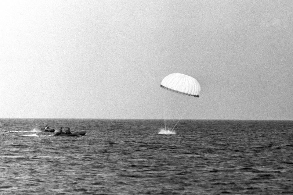 The Prince of Wales completes his first parachute drop in Studland Bay in Dorset in 1971. (PA Archive) (PA Archive)