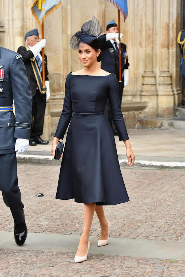 Making the art of royal dressing look effortless, Meghan chose a bespoke '50s inspired Dior dress for the prestigious outing with a co-ordinating hat by Stephen Jones. <em>[Photo: Getty]</em>