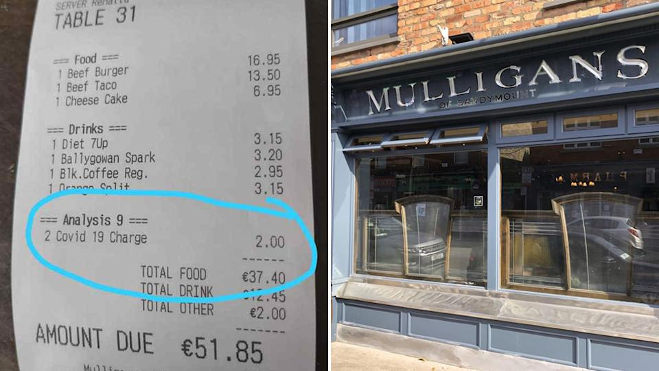 Diners at a Dublin pub were charged a 'covid-19 fee' for eating at Mulligans.