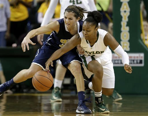 Baylor guard Odyssey Sims, right, comes away with a steal against Oral Roberts guard Kevi Luper in the second half of an NCAA college basketball game on Wednesday, Dec. 12, 2012, in Waco, Texas. (AP Photo/Tony Gutierrez)