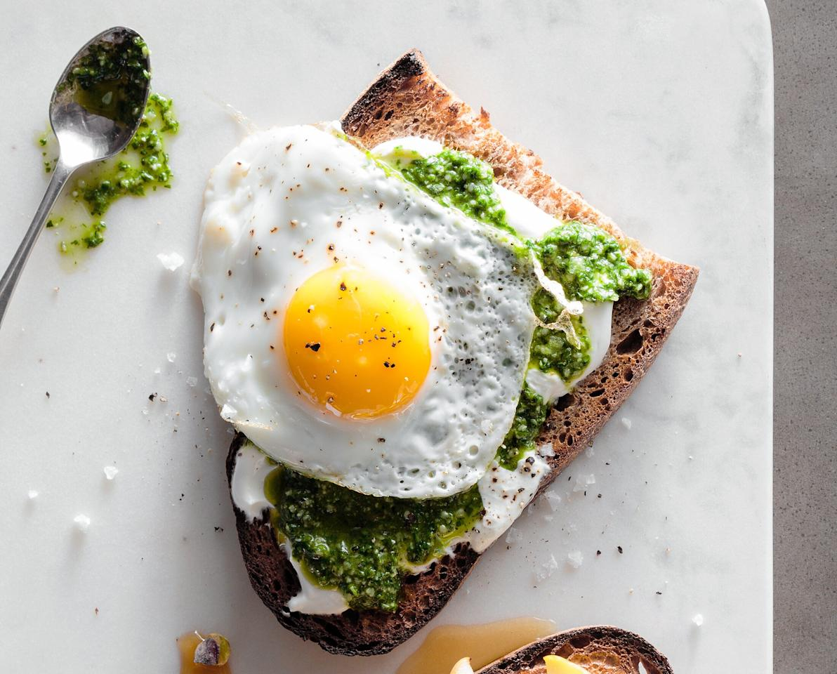"""<p>Sliced bread is the perfect blank canvas, ready to be loaded up with virtuous ingredients. Here is a toast recipe from the Instagram queen of the genre, Diana Ngo <i>(@diningwithdiana)</i>, a cook and mom in the Seattle area who is working on her RD.</p> <p><a href=""""https://www.myrecipes.com/recipe/cilantro-and-kale-pesto-toast-with-a-fried-egg"""">Cilantro and Kale Pesto Toast with a Fried Egg Recipe</a></p>"""
