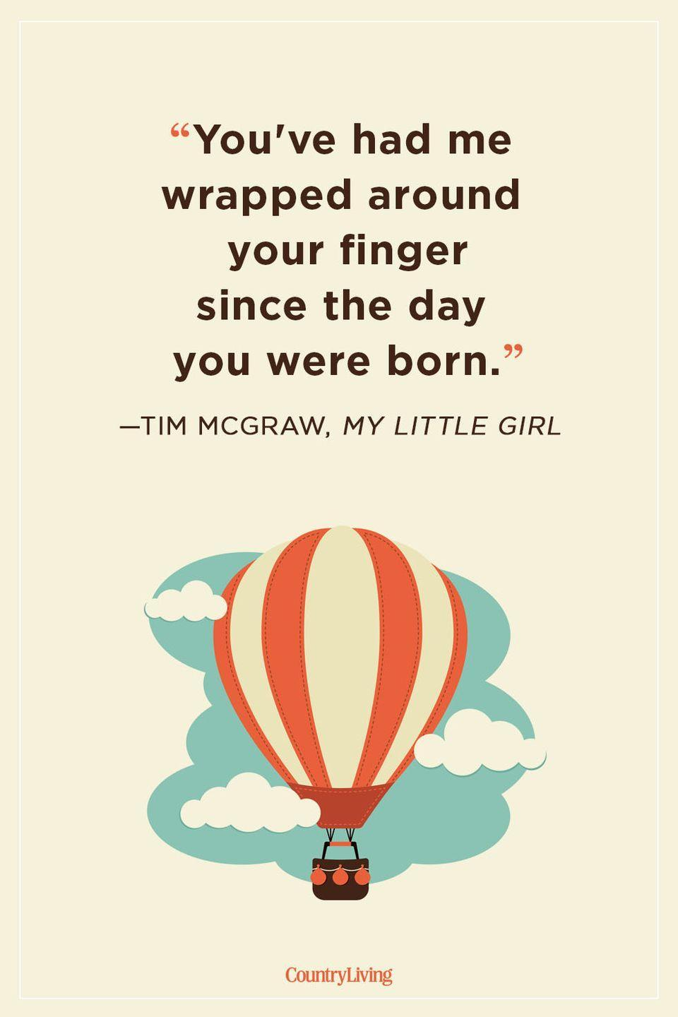 """<p>""""You've had me wrapped around your finger since the day you were born.""""</p>"""