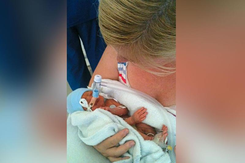 Campaign: Catriona Ogilvy holding Sam six days after his birth