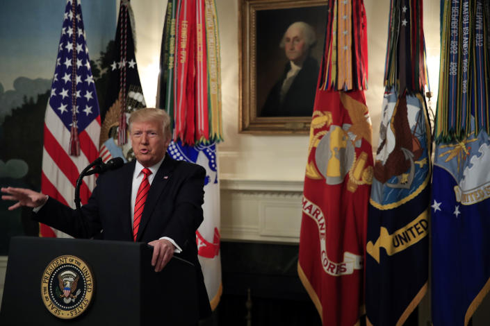 President Donald Trump speaks in the Diplomatic Room of the White House, Sunday, Oct. 27, 2019 in Washington. Trump says Islamic State group leader Abu Bakr al-Baghdadi died after running into a dead-end tunnel and igniting an explosive vest, killing himself and three of his young children, (AP Photo/Manuel Balce Ceneta)