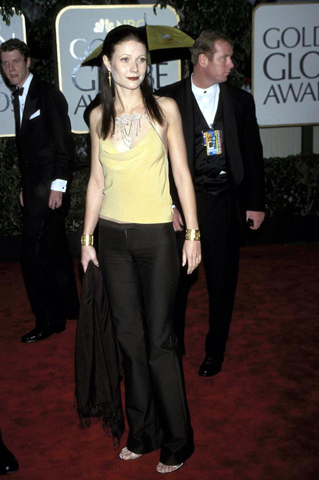 "From her dark hair to her black tuxedo pants, nothing that Gwyneth Paltrow wore to the 2000 Golden Globe Awards worked. Kevin Mazur/<a href=""http://www.wireimage.com"" target=""new"">WireImage.com</a> - January 23, 2000"
