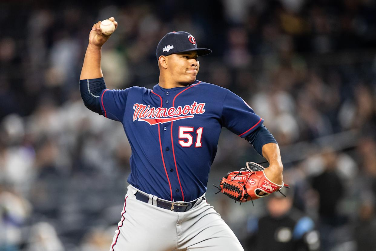 NEW YORK, NY - OCTOBER 04: Brusdar Graterol #51 of the Minnesota Twins pitches against the New York Yankees on October 4, 2019 in game one of the American League Division Series at Yankee Stadium in the Bronx borough of New York City. (Photo by Brace Hemmelgarn/Minnesota Twins/Getty Images)