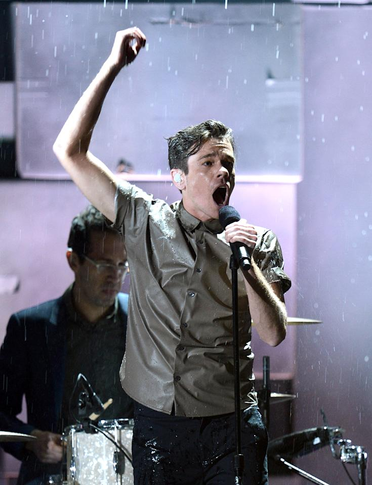 Nate Ruess of Fun. performs onstage during the 55th Annual GRAMMY Awards at STAPLES Center on February 10, 2013 in Los Angeles, California.  (Photo by Kevin Winter/WireImage)