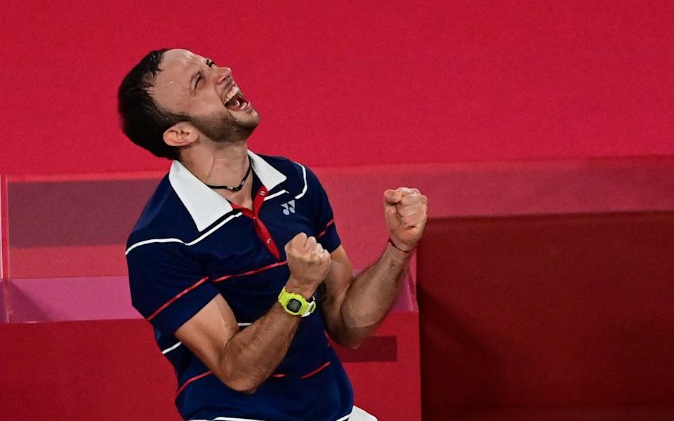Guatemala's Kevin Cordon celebrates after beating South Korea's Heo Kwang-hee in their men's singles - AFP