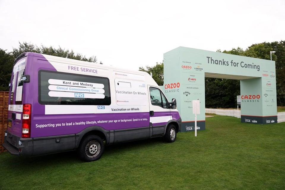 """A """"Vaccination on Wheels"""" Covid-19 clinic at the London Golf Club in Ash, Kent (Steven Paston/PA) (PA Wire)"""