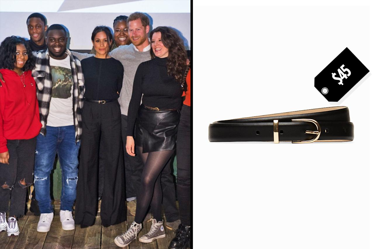 "<p>Meghan Markle wears Aritzia's Babaton Amos dress belt to complete her monochromatic look on a Jan. 9 visit to a radio station in London with Prince Harry. (Photo: Twitter/ReprezentRadio; Courtesy of Aritzia)<br />Shop: Aritzia Babaton Amos dress belt, $45, <a rel=""nofollow"" href=""https://us.aritzia.com/product/amos-dress-belt/55605.html?dwvar_55605_color=1461"">aritzia.com </a> </p>"
