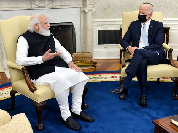 Prime Minister Narendra Modi and US President Joe Biden hold bilateral meeting at the Oval Office in the White House, in Washington DC on Friday. (ANI Photo)