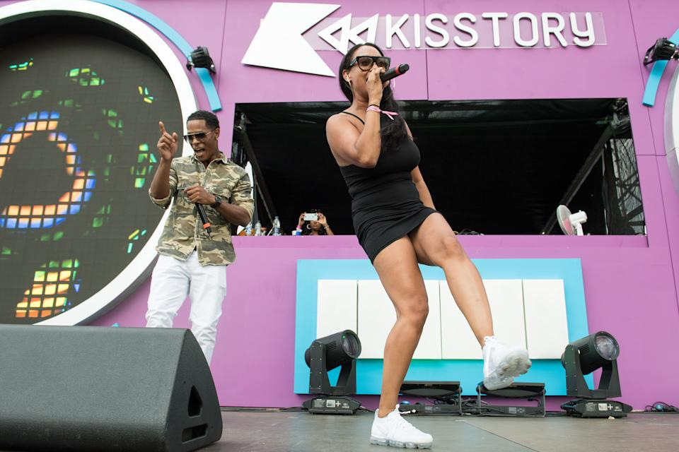 LONDON, ENGLAND - JULY 21: (L-R) Romeo and Lisa Maffia perform during Kisstory On The Common 2018 at Streatham Common on July 21, 2018 in London, England. (Photo by Jeff Spicer/Getty Images)