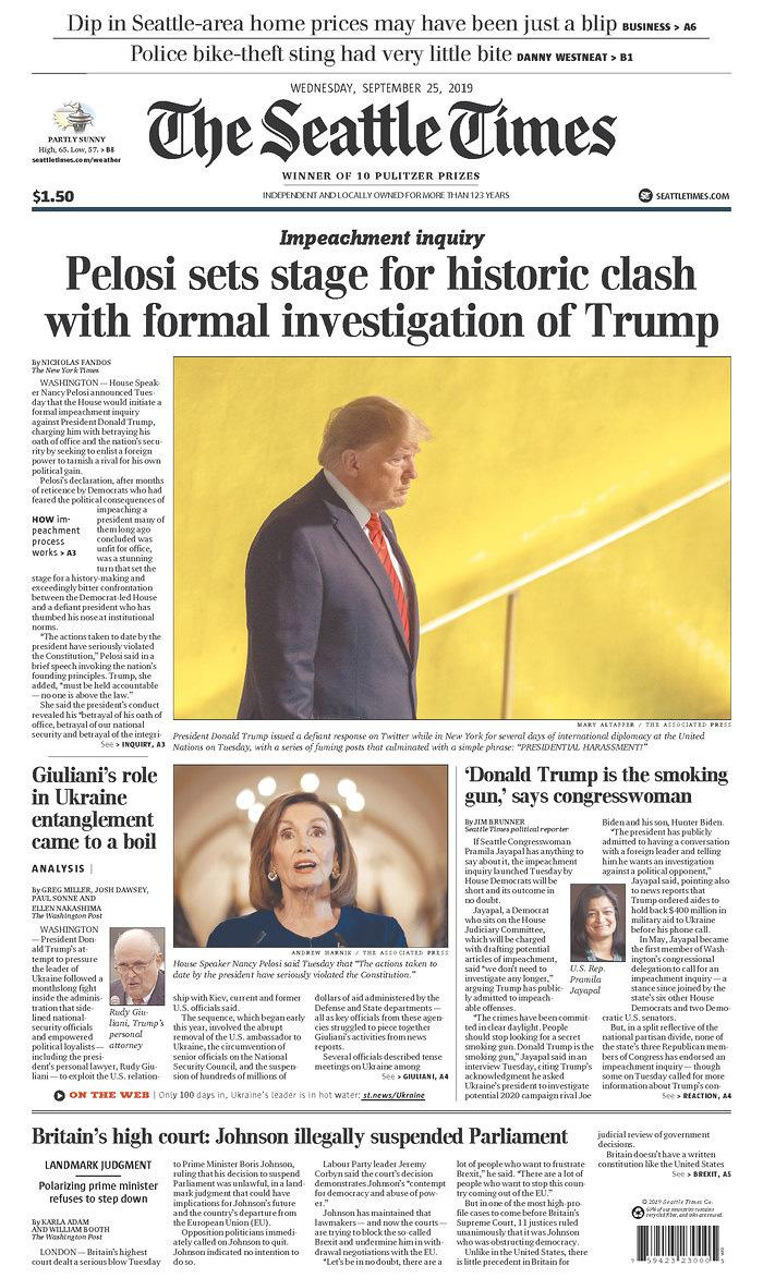 Pelosi sets stage for historic clash with formal investigation of Trump The Seattle Times Published in Seattle, Wash. USA. (newseum.org)