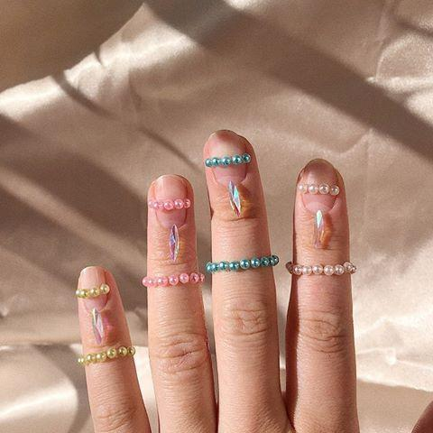 """<p>One for the more ostentatious bride, this bejewelled nail art brings your fingertips into the equation as well. </p><p><a href=""""https://www.instagram.com/p/B_ur1XQjAmW/?utm_source=ig_embed&utm_campaign=loading"""" rel=""""nofollow noopener"""" target=""""_blank"""" data-ylk=""""slk:See the original post on Instagram"""" class=""""link rapid-noclick-resp"""">See the original post on Instagram</a></p>"""
