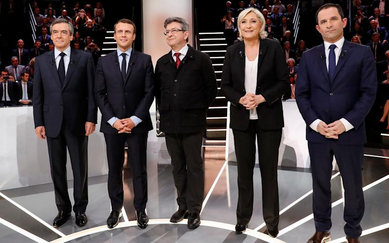 Candidates from left to right: Francois Fillon, Emmanuel Macron, Jean-Luc Melenchon, Marine Le Pen and Benoit Hamon  - Credit: AP