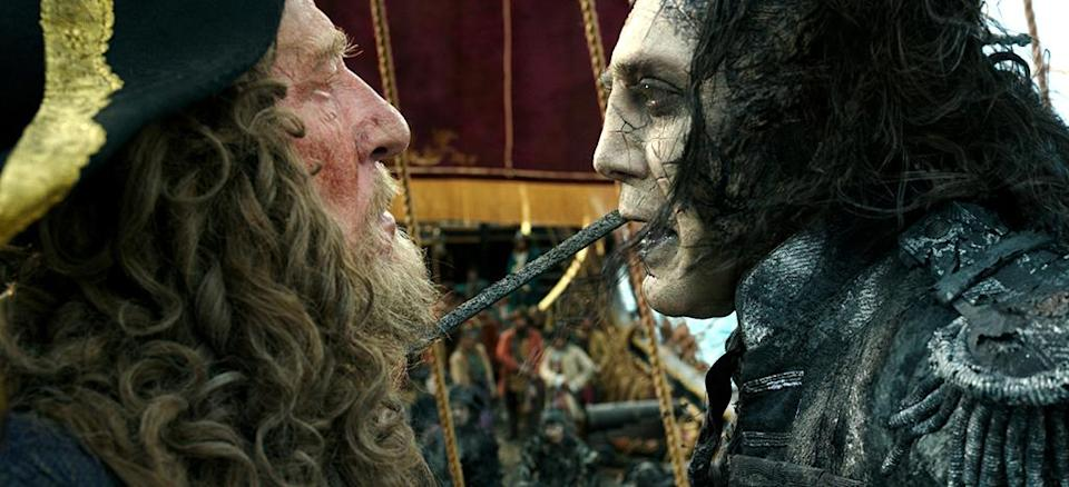 <p>Geoffrey Rush as Barbossa (left) faces off with Javier Bardem as Captain Salazar in 'Pirates of the Caribbean: Dead Men Tell No Tales' (Photo: Disney)<br><br> </p>  <p>Keep Your Eye on the Sparrow</p><p> Johnny Depp as Captain Jack Sparrow in 'Pirates of the Caribbean: Dead Men Tell No Tales' (Photo: Disney)<br><br> </p>  <p>The New Recruit</p><p> Brenton Thwaites plays Henry, a young sailor, in 'Pirates of the Caribbean: Dead Men Tell No Tales' (Photo: Disney)<br><br> </p>