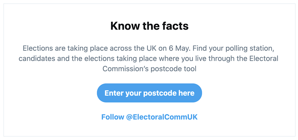 Twitter local elections prompt