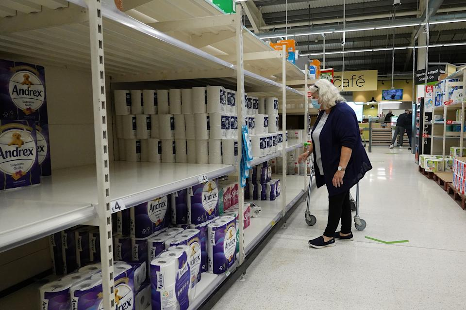 LLANDUDNO - SEPTEMBER 30: Near empty shelves of toilet paper stock at a supermarket on September 30, 2020 in Llandudno, United Kingdom. New local lockdown measures will come into force for people living in in Conwy, Denbighshire, Flintshire and Wrexham at 18:00 BST on Thursday. The new regulations will include no travel outside the areas where people live. (Photo by Christopher Furlong/Getty Images)